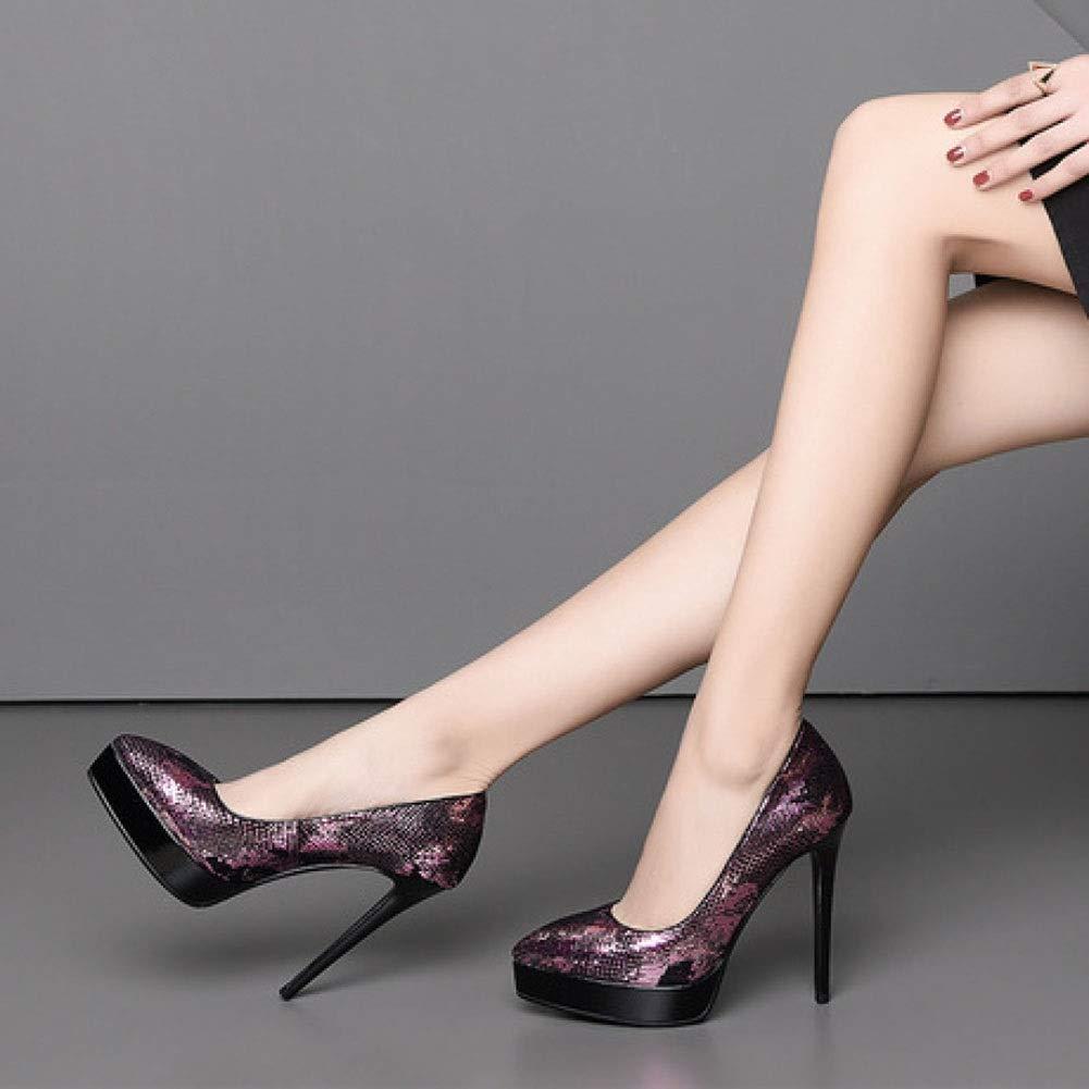 TYD.L High Heels K610 PU + Sexy TPR Damenmode Elegant Sexy + Spitzen Stilettos Nachtclub Damenschuhe Flacher Mund Schuhe Frühling Und Sommer 12 cm (Farbe   lila größe   EU35 UK3 CN34) 1d000e