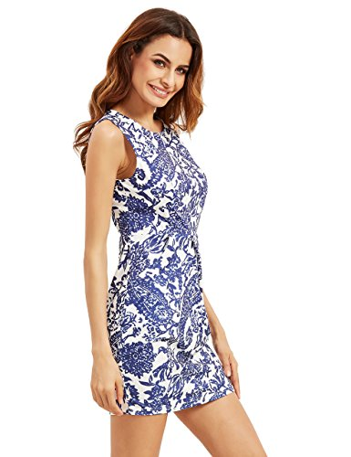 Floerns Womens' Pocket Sleeveless Tribal Print Bodycon Dress Navy S