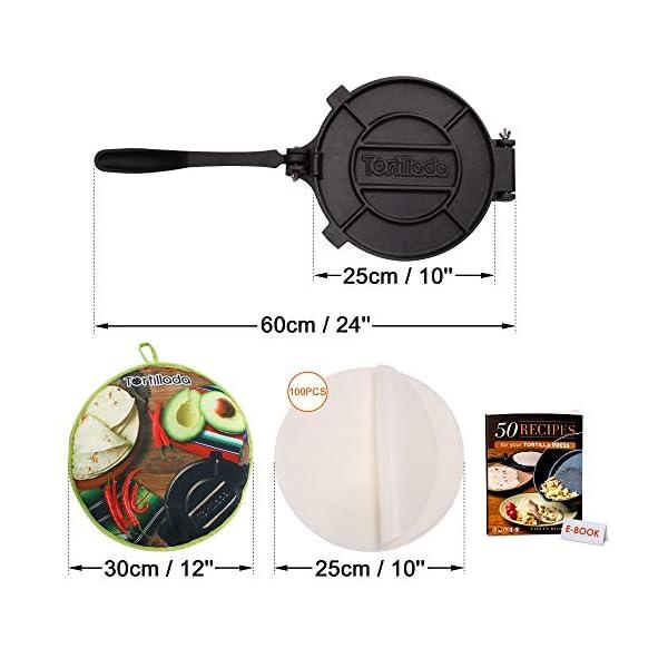 Tortillada - Pressa per tortilla in ghisa di alta qualità, con libro elettronico di ricette (25,5 cm) + scaldino… 3