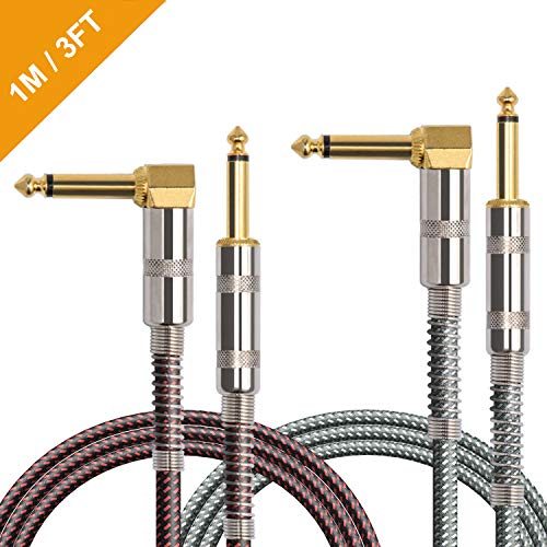 (OTraki 2 Pack Guitar Instrument Cable 3FT 1/4 Inch Straight to Right Angle Gold Plated 6.35mm Electric Guitar Cables 1M TS Solid Instrument Cord for Guitar Bass Keyboard Effector Microphone)