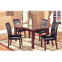 Home Source 50902104 5-Piece Chino Collection Asian Hardwood Dining Set, 30 by 60 by 36-Inch, Mahogany/Brown Faux Marble