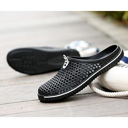 DULEE - Zapatillas de estar por casa de pvc para hombre negro negro