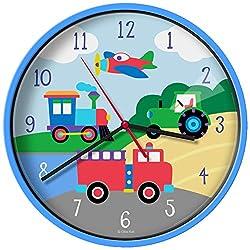 New Olive Kids Trains, Planes, Trucks Wall Clock