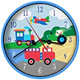 New Olive Kids Trains, Planes, Trucks Wall Clock
