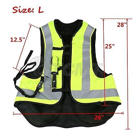 TCMT Airbag Motorcycle Airnest Air Bag Vest Hi Visibility w// CO2 Cartridge XXL, Black + Fluorescent yellow