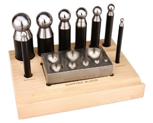 10 Piece Dapping Doming Punch Block Pro Jewelers Forming Tool Set 5mm - 27mm Shaping Texturizing Jewelry