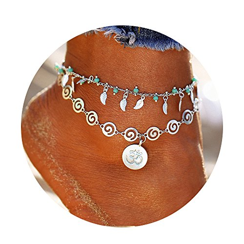 FineMe Starfish Turtle OM Anklets Multiple Layered Boho Gold Chain Anklet Heart Beach Rhinestones Turquoise Stone Charm Anklet ()
