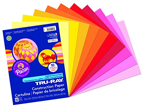 Pacon Tru-Ray Construction Paper Assortments, 9-Inches by 12-Inches, 50-Count, Warm Assorted (102947)