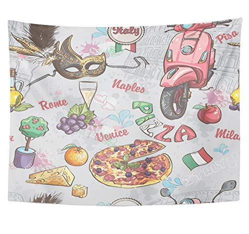 Emvency Tapestry Polyester Fabric Print Home Decor Colorful Map on Italy with of Food Fruit Wine Carnival Masks Italian Old Travel Wall Hanging Tapestry for Living Room Bedroom Dorm 60x80 inches (Italian Carnival Mask)