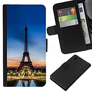 KLONGSHOP // Tirón de la caja Cartera de cuero con ranuras para tarjetas - Tour D'Eifel Torre Sunset Francia - Sony Xperia Z1 L39 //