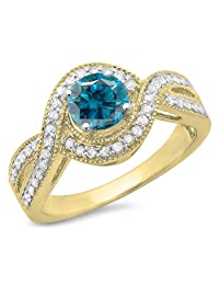 1.15 Carat (ctw) 14K Gold Blue & White Diamond ladies Swirl Split Shank Halo Engagement Ring