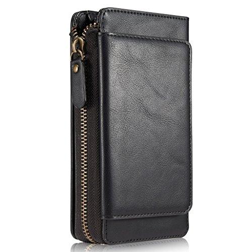 iPhone 6/6S Handy Hülle Leder Case mit Kartenfächer Geldscheinfach mit Reißverschluss Abnehmbar Magnet Schutzhülle, Schwarz