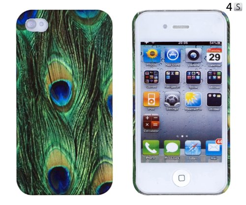 Peacock Feather Embossed Hard Case for Apple iPhone 4, 4S (AT&T, Verizon, Sprint) - Includes DandyCase Keychain Screen Cleaner [Retail Packaging by DandyCase]](Iphone 4 Case Peacock)