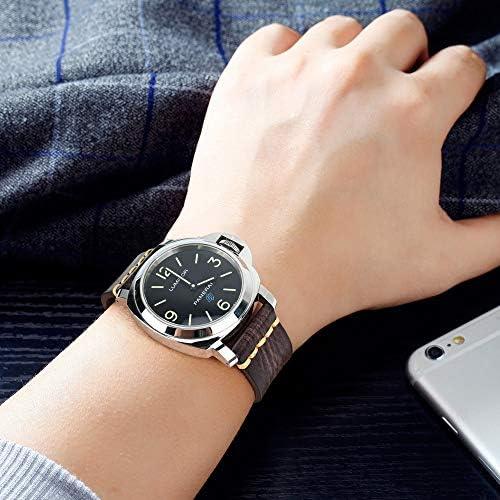 RTYW ユニバーサル時計手作り時計バンド20ミリメートル21ミリメートル22ミリメートル23ミリメートル24ミリメートルレザー腕時計バンド (Band Color : AshBlack Silver, Band Width : 21mm)