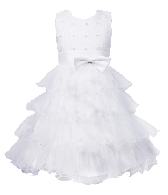 White 3T LaBiTi Girls Beading Wedding Party Princess Cupcake Bowknot Dress