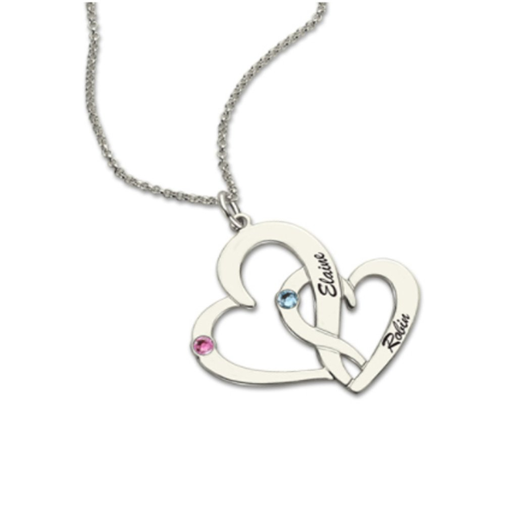 Heart Shaped Pendant Necklace with Any 2 Names and 2 Birthstones Customized Necklace Sterling Silver 925