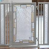 Fusion Gates Baby & Pet Gates featuring Bauhaus Border Art Screen Design (White Pearl, 52'' - 60'')