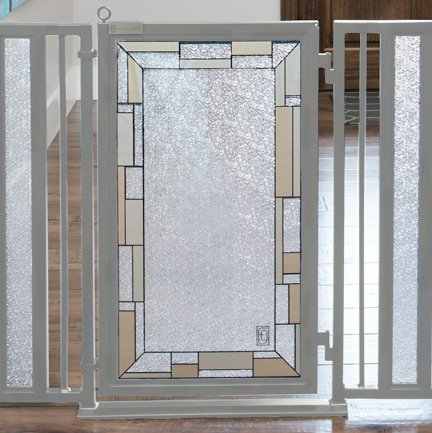 Fusion Gates Baby & Pet Gates featuring Bauhaus Border Art Screen Design (White Pearl, 52'' - 60'') by Fusion Gates