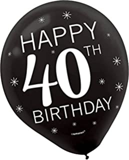 Assorted Colors Happy 40th BIRTHDAY Latex Balloons