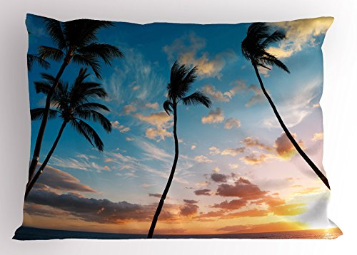 Lunarable Palm Tree Pillow Sham, Sunset Trees in Hawaii Exotic Tropical Paradise with Bright Sky Dreamy Picture, Decorative Standard Size Printed Pillowcase, 26 X 20 Inches, Blue Orange by Lunarable