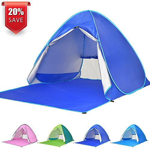 Kids Beach Cabana - BATTOP Automatic Pop up Beach Tent Sun Shelter Cabana 2-3 Person UV Protection Beach Shade for Outdoor Activities (DarkBlue)