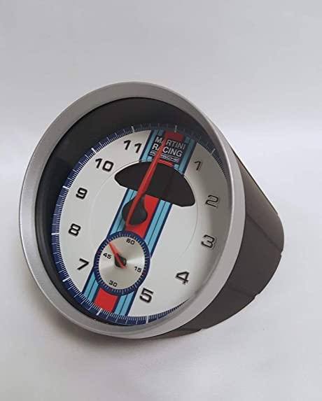 Porsche Martini Racing Sport Chrono Table Clock with Engine Sound and Calendar