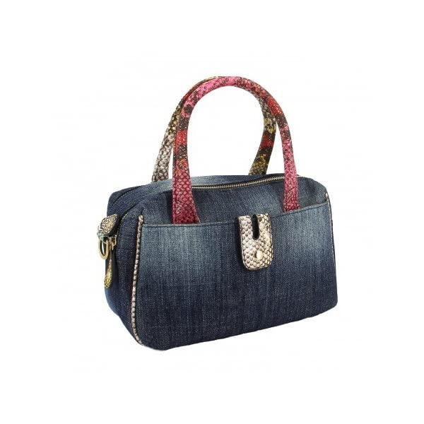 Ideal by Swan Shoes-Denim With Reptile Effect Shoulder Straps Bag LIDY - more-bags