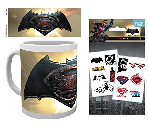 (Set: Batman Vs Superman, Logo Alt Photo Coffee Mug (4x3 inches) and 1 Batman Vs Superman, Tattoo Pack (7x4)