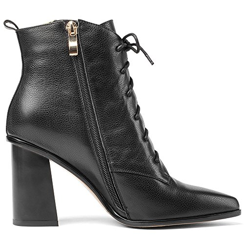 Toe Chunky Ankle High Heel Genuine Black Nine Handmade Seven Lace up Pointed Leather Women's Heel Boots UYUXp0O