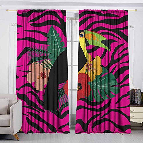 VIVIDX Print Window Curtain,Pink Zebra,Toucan Bird Sitting on Hibiscus Plants Flowers Large Leaves on Zebra Background,Insulated with Curtains for Bedroom,W63x63L Inches - Zebra Palm Pre Pink