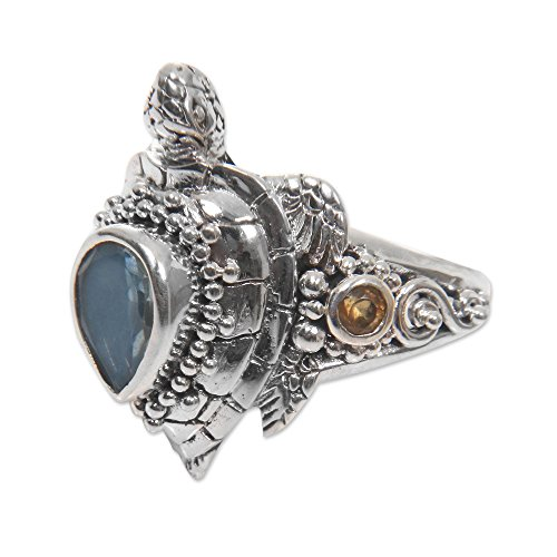 NOVICA Multi Gem .925 Sterling Silver Ocean Life Cocktail Ring, Sea Turtle Enchantment' ()