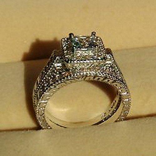 Lovely Ring - Vintage White Sapphire Diamonique 10KT White Gold GF Wedding Ring Set Size6