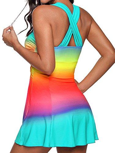 Costume Donna Da Arcobaleno Taglie Sexy Forti Mare Tankini Bluestercool Swimwear Azzurro xSqPg8