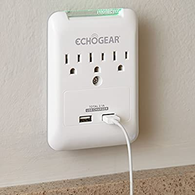 ECHOGEAR Low Profile On-Wall Surge Protector With 3 AC Outlets & 2 USB Ports – 540 Joules of Surge Protection - Installs Over Existing Outlets To Protect Your Gear & Increase Outlet Capacity