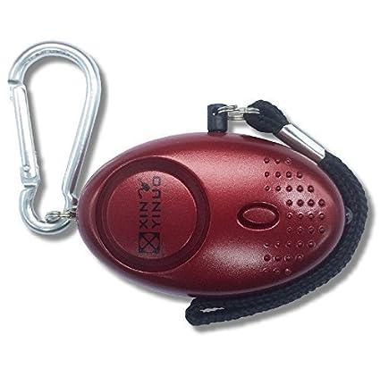 Xinyinuo metalico mini rojo fuerte ataque de pánico de violación de seguridad del personal de Seguridad antorcha llavero alarma con 140 dB - acreedor ...