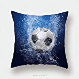 Custom Satin Pillowcase Protector Water Drops Around Soccer Ball On Blue Background_20957539 Pillow Case Covers Decorative