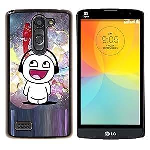 YiPhone /// Prima de resorte delgada de la cubierta del caso de Shell Armor - Cartoon Mand Arte Blanca Música Amor Felicidad - LG L Prime D337 / L Bello D337