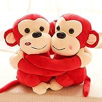 Richy Toys Monkey's Cuddly Couple Soft Toys Plush Stuffed Teddy Bear for Kids Birthday Gift (Red)