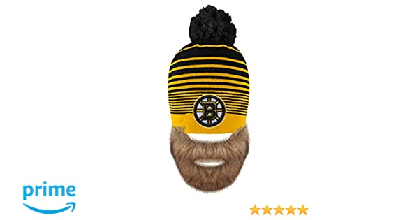 in stock ed9c6 98148 Amazon.com   Old Time Hockey NHL Boston Bruins Men s Bertram Faux Beard Knit  Hat with Pom, One Size, Black   Sports   Outdoors