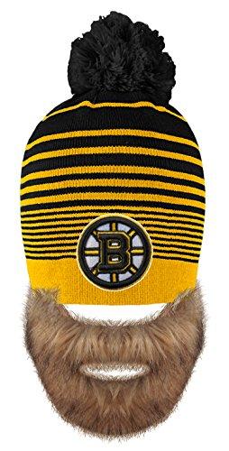 Old Time Hockey NHL Boston Bruins Men's Bertram Faux Beard Knit Hat with Pom, One Size, Black (Boston Bruins Pom Beanie)