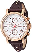 Fossil Women's ES3616 Original Boyfriend Chronograph Leather Watch - Brown