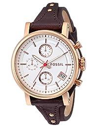 Fossil Women's ES3616 Original Boyfriend Chronograph Leather Watch - Brown