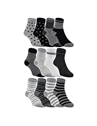LLS Baby Boy's 12 Pairs Pack Non-Skid Cotton Socks One Size Multiple Color