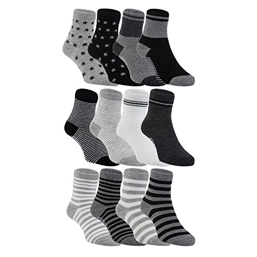 Lian LifeStyle Baby Boy's 12 Pairs Pack Non-Skid Cotton Socks One Size Multiple - Puts No Baby One