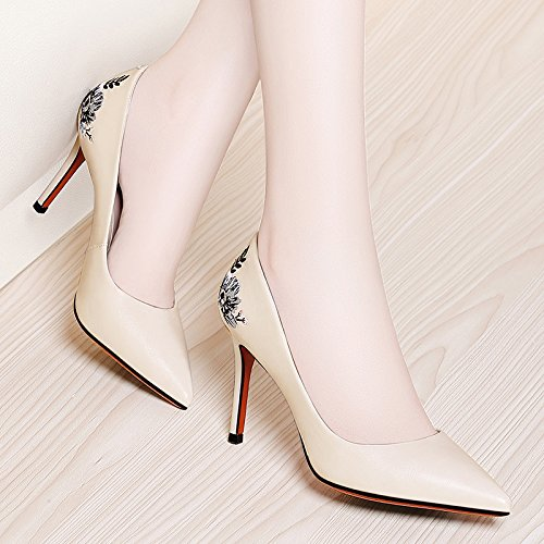 SDKIR-Cheongsam female high-heeled shoes with a fine all-match small fresh shoes ladies shoes shoes. Thirty-eight Beige
