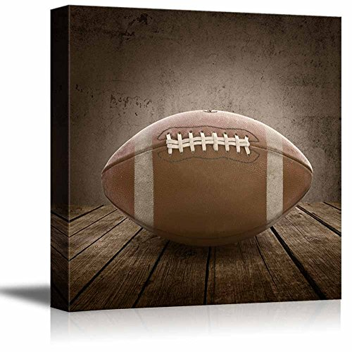 Football Rustic Square Sport Panel Celebrating American Sports Traditions Canvas Art Home Decor 12x12 Inches