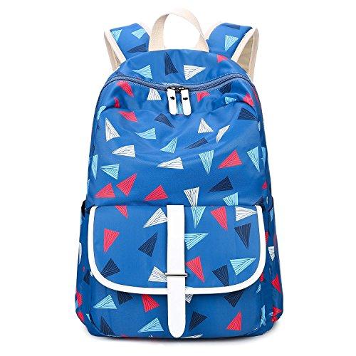 Adi Designs Backpack (Bagerly Lightweight Canvas Laptop Bag Shoulder Daypack School Backpack Causal Handbag (Blue Triangles))