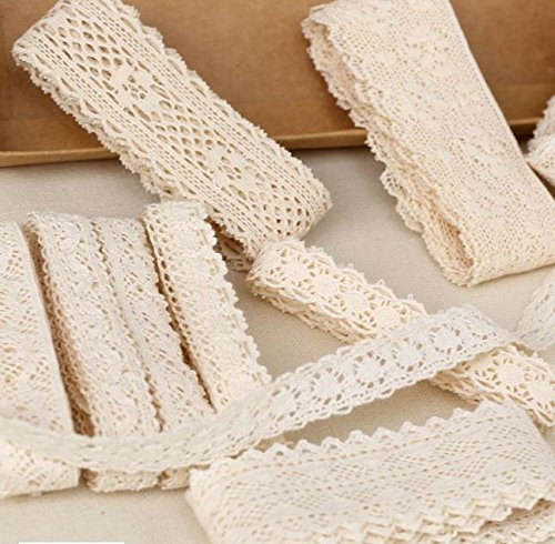 1-3.5cm Width Lace Trim Ribbon Wedding Bridal Retro Floral Embroidered Cotton Beige For Decorating Pattern Gift Wrap Decor Yarns Craft Accessories 30 Yard (All Beige Mix 30 (Pink Ribbon Cotton Shorts)
