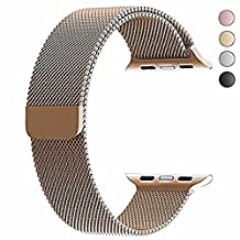Apple Watch Band 42mm, top4cus Milanese Loop Stainless Steel Bracelet Strap Replacement Wrist iWatch Band with Magnet Lock for 42mm Watch (42mm Gold)