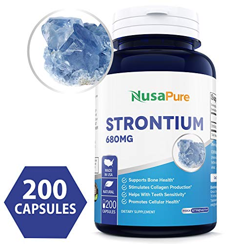 Strontium 680mg 200caps (Non-GMO & Gluten Free) Bone Maintenance, Helps to Prevent Bone Loss, Osteoporosis - Made in USA - 100% Money Back Guarantee!